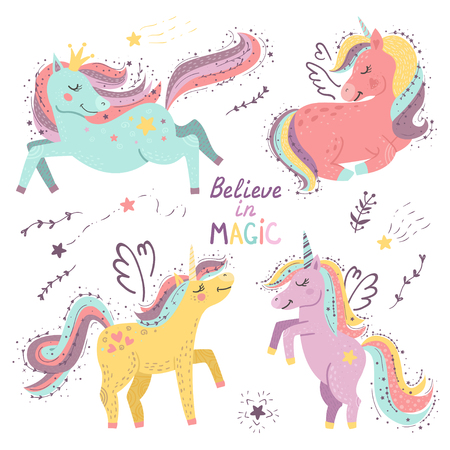 Set of fantasy unicorns