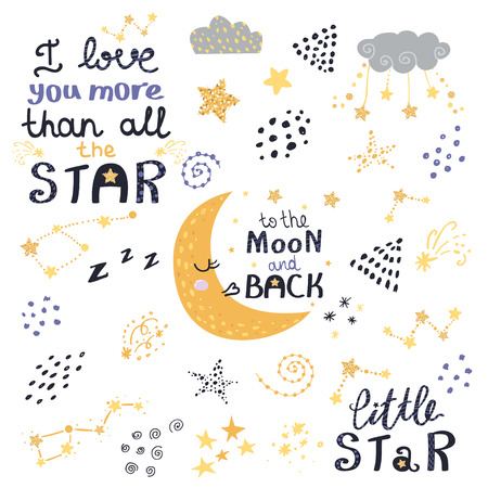 Vector set of night lettering with cute cartoon phrases. Beautiful phrases for baby rooms or bedroom.