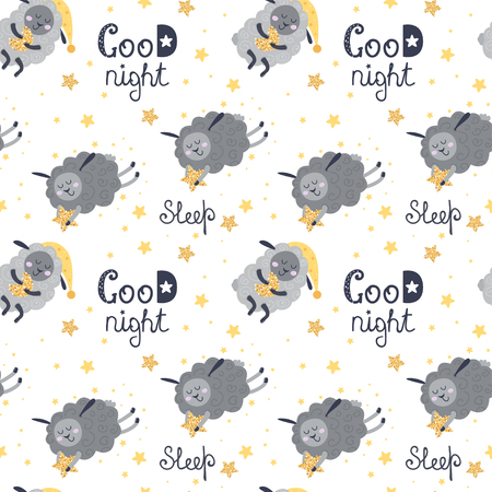 Cute seamless pattern with sheeps. Vector illustration for your design