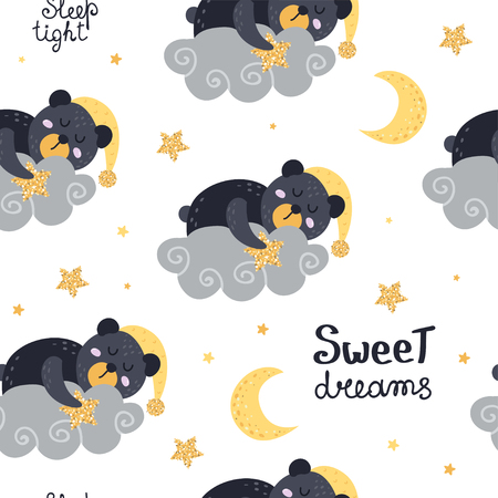 Cute seamless pattern with bears. Vector illustration for your design