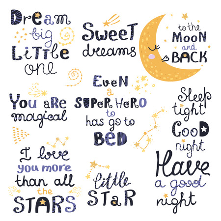 Vector set of night lettering with cute cartoon phrases. Beautiful phrases for baby rooms or bedroom. Vector illustration for your design Ilustracja
