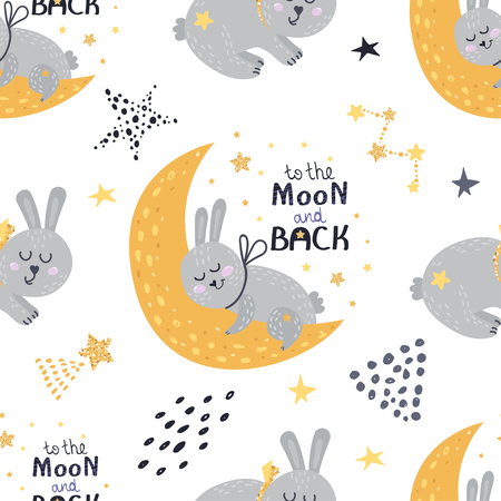 Seamless pattern with sleeping bunnies. Vector illustration for your design