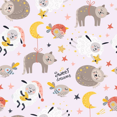 Seamless pattern for girls with sleeping animals. Vector illustration for your design
