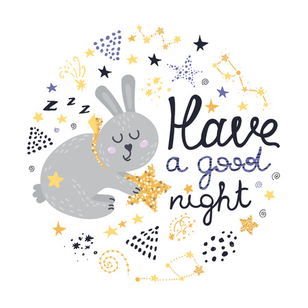Poster with bunny, stars and lettering. Vector illustration for your design