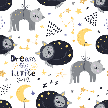 Seamless pattern with sleeping cats. Vector illustration for your design