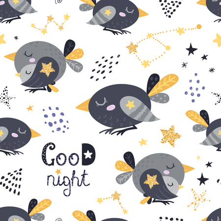 Seamless pattern with sleeping birds. Vector illustration for your design Ilustracja