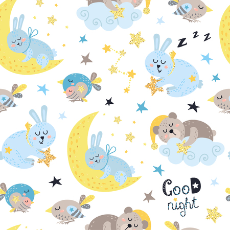 Seamless pattern for boys with sleeping animals. Vector illustration for your design