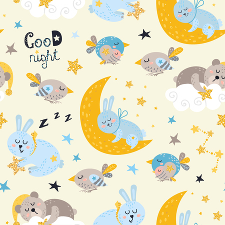 Seamless pattern for boys with sleeping animals