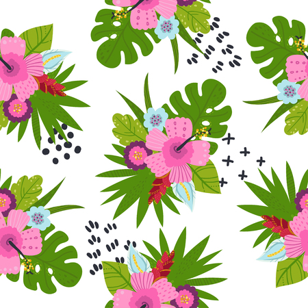 Seamless pattern with tropical leaves and flowers. Vector illustration for your design