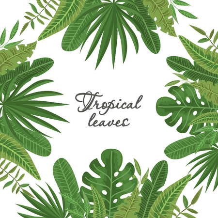 Bright frame of colorful tropical leaves