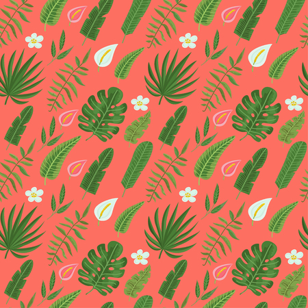 Seamless pattern with tropical leaves and flowers in coralline background. Vector illustration for print for clothes, wallpaper, textile and greeting card Ilustração