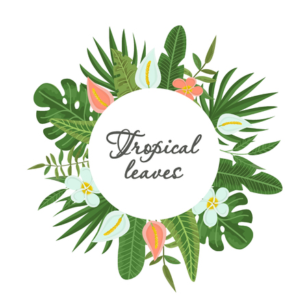 Bright wreath of colorful tropical leaves and flowersConcept of the jungle for the design of invitations, greeting cards