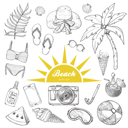 Summer set of doodle hand drawn objects isolated on white. Vector illustration for your design