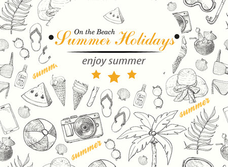 Summer background with beach elements. Vector illustration for your design