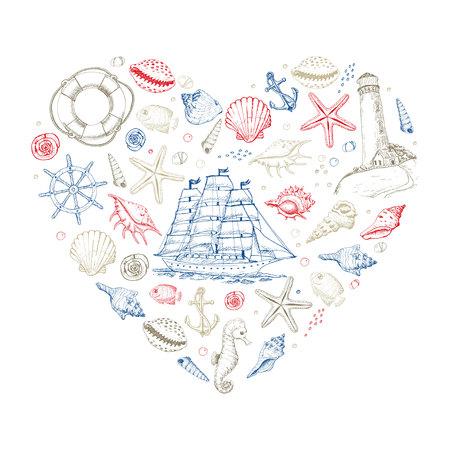 Corazón de vector de elementos marinos de verano