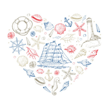 Vector heart from summer marine elements