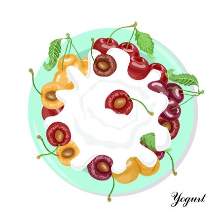 Plate with yogurt and cherry Ilustração