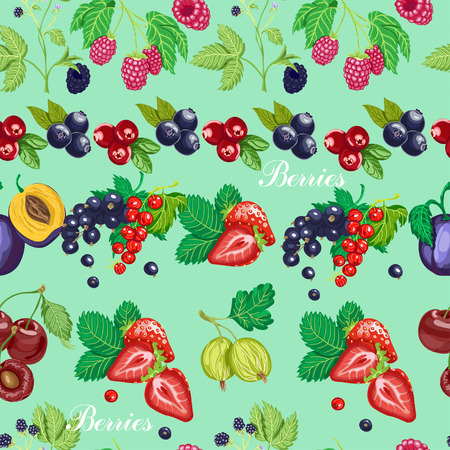 Summer seamless pattern with garden berries on a blue background. Vector illustration for your design