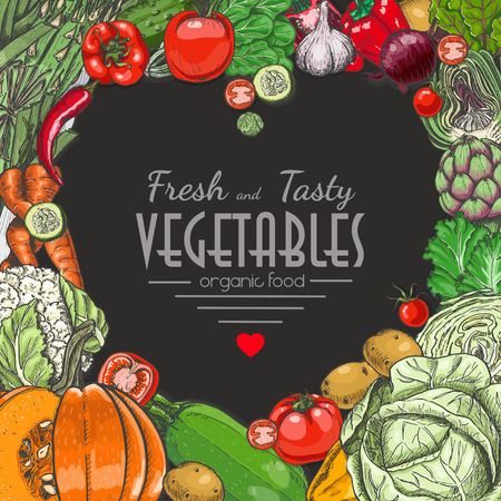Background with colored vegetables. Vector illustration for your design