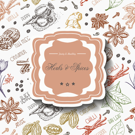 Seamless pattern with spices and inscription in the middle. Vector illustration for your design