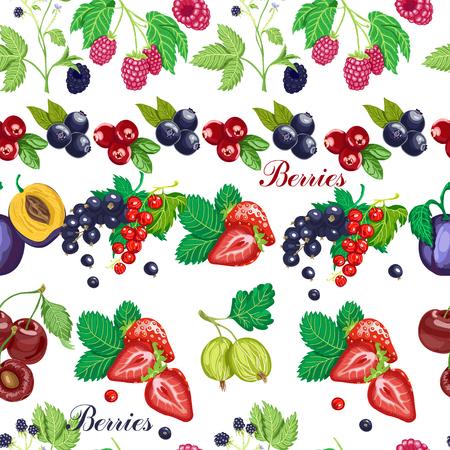 Summer seamless pattern with garden berries on a white background. Vector illustration for your design Vektorgrafik