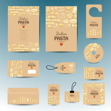 Set of vector cards with pasta. Vector illustration for your design