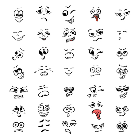 Set of cartoon faces of people. Vector illustration for your design