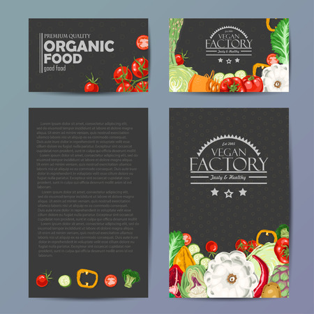 Set of vector cards with fresh and healthy vegetables. Vector illustration for your design Illustration