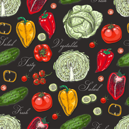 Seamless pattern with colored vegetables. Vector illustration for your design