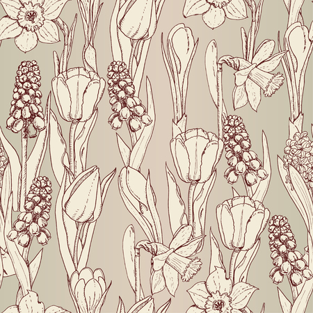 Seamless pattern with spring flowers on a beige background. Vector illustration for your design Stock Illustratie