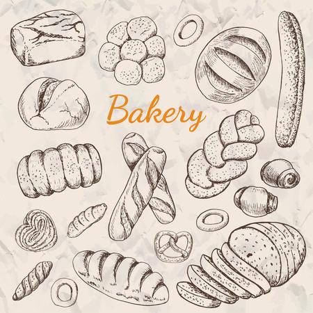 Hand drawn vintage vector illustration - Set of Bakery. Organic food. Vector illustration for your design  イラスト・ベクター素材