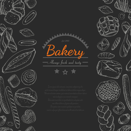 Vertical seamless background with various bakery products. Vector illustration for your design  イラスト・ベクター素材