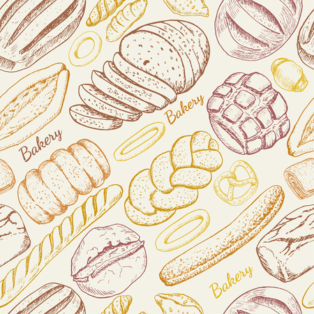 Seamless pattern with a variety of bakery products. Vector illustration for your design