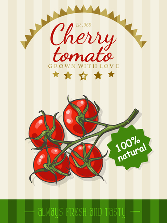 Vector poster with a cherry tomato in a sketch style