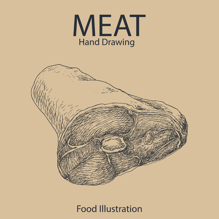 Vector background of hand drawn meat