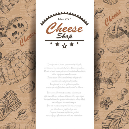 Vector background with cheese products. Vector illustration for your design Ilustração