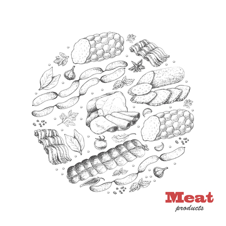 Vector background with meat products arranged in a circle. Vector illustration for your design Vecteurs