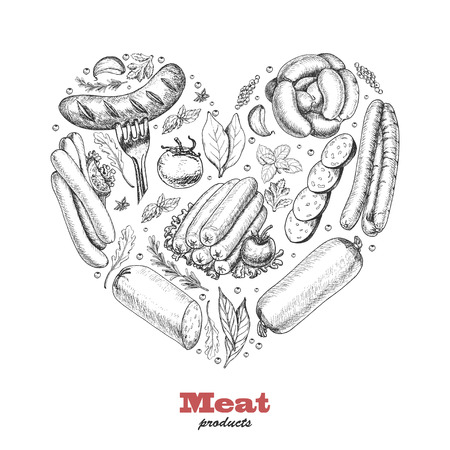 Vector heart of meat products. Vector illustration for your design