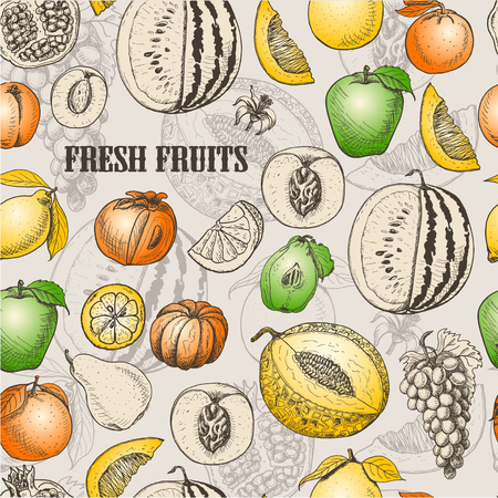 Seamless pattern with fruits. Vector  illustration for your design Stock Illustratie