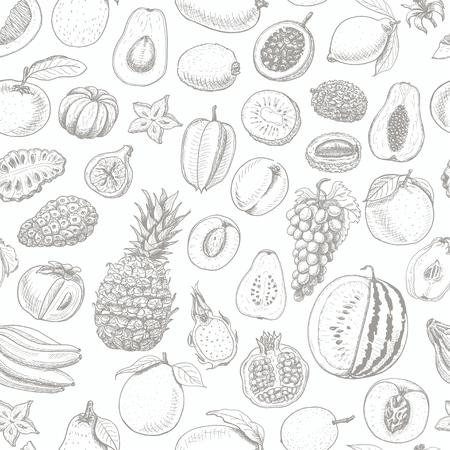 Seamless pattern with fruits on white background. Vector  illustration for your design