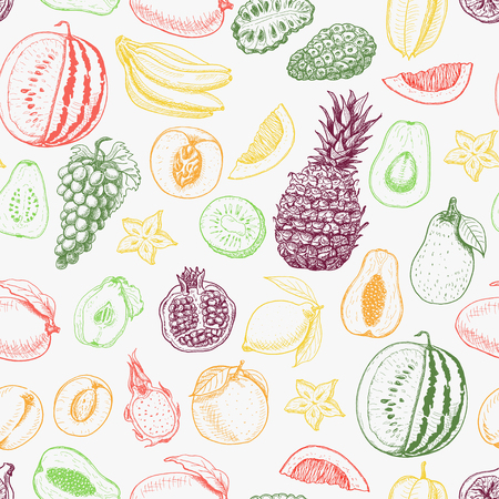 Seamless pattern with colored fruits on white background. Vector  illustration for your design Stock Illustratie