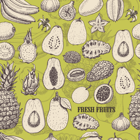 Seamless pattern with tropical fruits on light green background. Vector  illustration for your design Ilustracja