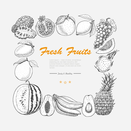 Vector square frame of exotic fruits. Vector  illustration for your design