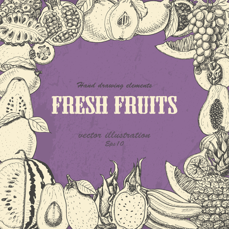 Vector background with exotic fruits on a purple background. Vector  illustration for your design Ilustrace