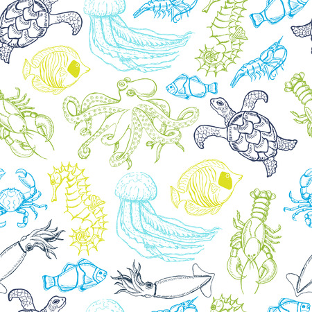 Seamless pattern with hand drawn sea animals. Vector  illustration for your design Illustration