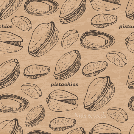Seamless pattern with pistachios on a vintage background. Vector  illustration for your design