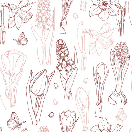 Seamless pattern with spring flowers on a white background. Vector  illustration for your design Stock Illustratie