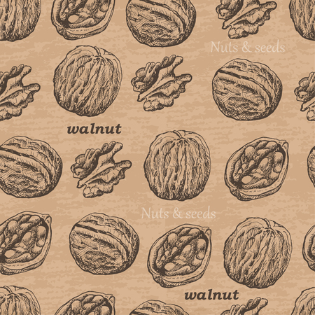 Seamless pattern with walnuts on a vintage background. Vector  illustration for your design Ilustracja