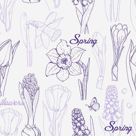 Seamless pattern with spring flowers on a white background Stock Illustratie