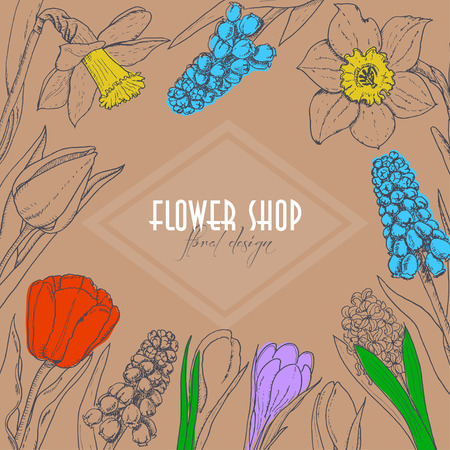 Vector background with spring flowers on a beige background. Vector  illustration for your design